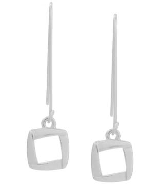 Kenneth Cole New York Earrings, Silver Tone Square Drop Earrings