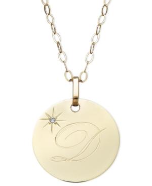 14k Gold Necklace, D Initial Diamond Accent Disc Pendant