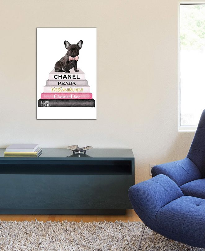"""iCanvas """"Bookstack Grey Pink White Black & French Bulldog"""" by Amanda Greenwood Gallery-Wrapped Canvas Print (26 x 18 x 0.75)"""