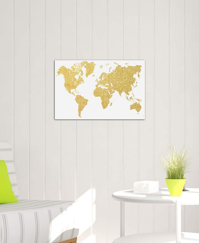 """iCanvas """"Gold Map"""" by Natasha Westcoat Gallery-Wrapped Canvas Print (26 x 40 x 0.75)"""