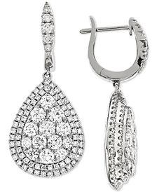 Diamond Teardrop Halo Cluster Drop Earrings (3-1/4 ct. t.w.) in 14k White Gold
