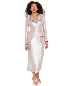 Kasper Suit, Ruffled Jewel Button Satin Jacket & Long Skirt