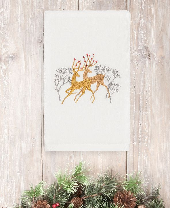 Linum Home CLOSEOUT!  Christmas Deer 100% Turkish Cotton Hand Towel