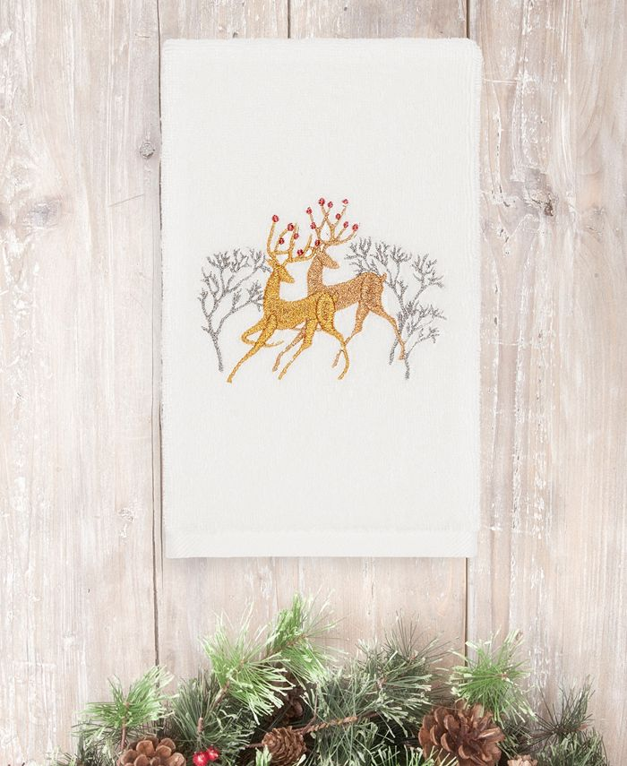 Linum Home - Christmas Deer Pair 100% Turkish Cotton Hand Towel