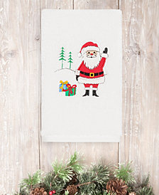 CLOSEOUT!  Linum Home Christmas Santa Waving 100% Turkish Cotton Hand Towel