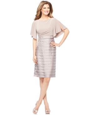 Adrianna Papell Petite Dress, Short Split Butterfly Sleeve Ruched Pleated Cocktail Dress
