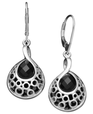 Sterling Silver Earrings, Faceted Onyx (8 mm) Filigree Teardrop Earrings