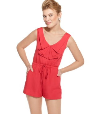 Be Bop Romper, Sleeveless Ruffled Drawstring