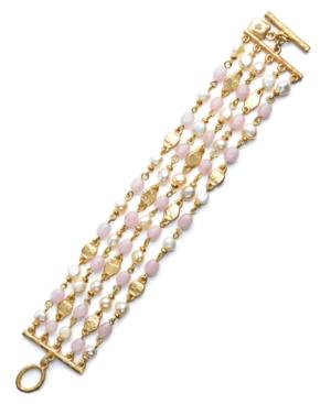 Lauren by Ralph Lauren Bracelet, Pink Jade Accent and Freshwater Pearl 5 Row Bracelet