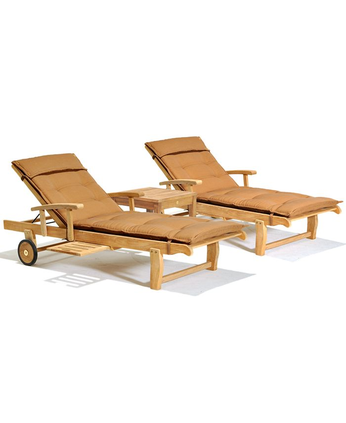 Furniture - Bristol Outdoor 3 Piece Set: 2 Chaise Lounges and 1 End Table