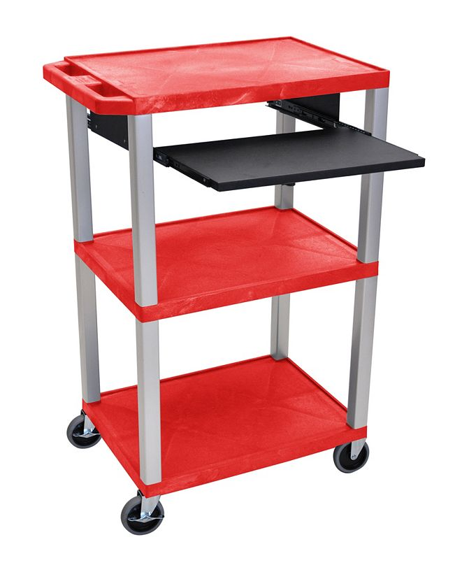 "Clickhere2shop 42""H Tuffy 3 Shelves AV Cart with Black Pullout Shelf - Red Shelves /Nickel Legs"
