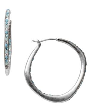 Fossil Earrings, Silver Tone Blue Crystal Glitz Hoop Earrings