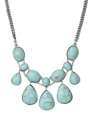 Fossil Necklace, Reconstituted Turquoise Statement Necklace