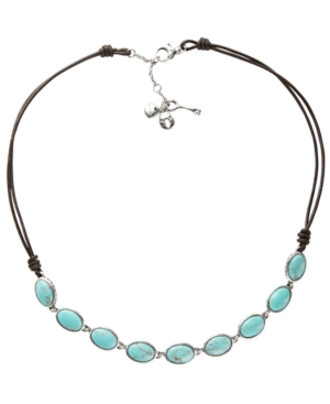 Fossil Necklace, Reconstituted Turquoise Station Necklace