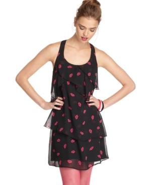 6 Degrees Dress, Sleeveless Scoopneck Sheer Ruffled Kiss Print