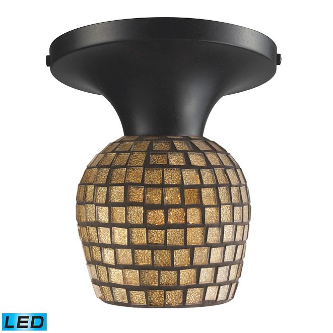 ELK Lighting Celina 1-Light Semi-Flush in Dark Rust and Gold Leaf Glass - LED Offering Up To 800 Lumens (60 Watt Equivalent)