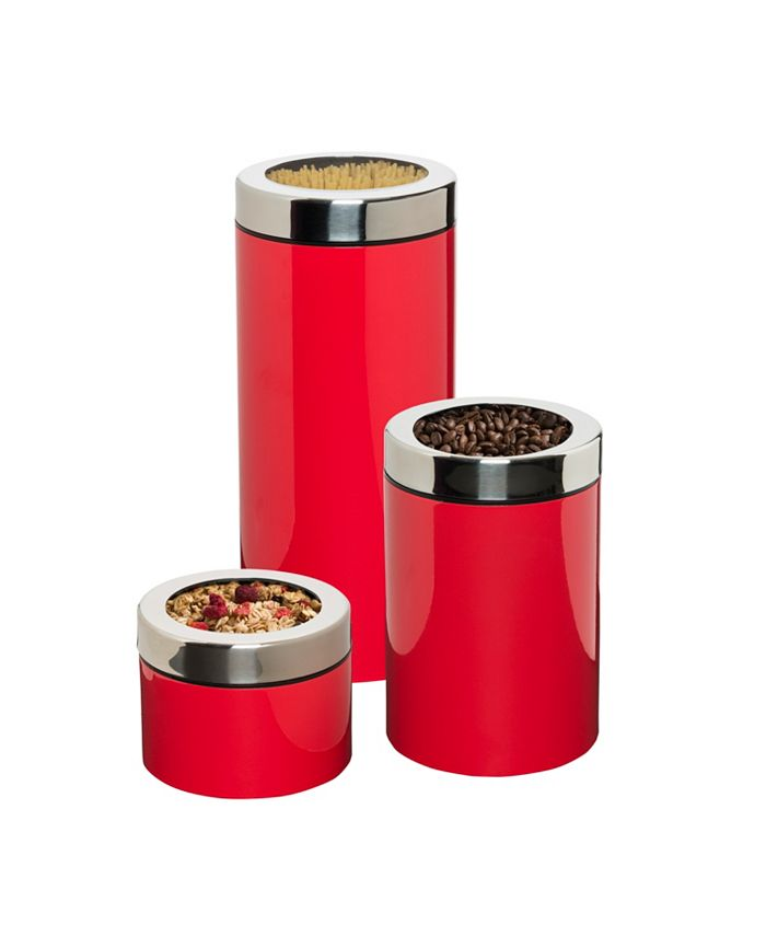 Honey Can Do - S/3 Retro Canisters Red