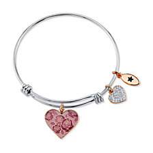 """Unwritten """"Mom You Are Nothing Short of Amazing"""" Pink Enamel Heart Crystal Bangle Bracelet in Stainless Steel Silver Plated Charms"""
