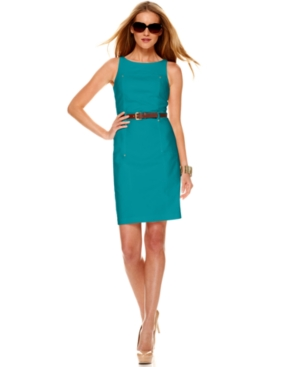 MICHAEL Michael Kors Petite Dress, Sleeveless Boat Neck Belted Sheath