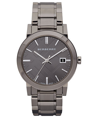 burberry s swiss gunmetal ion plated stainless