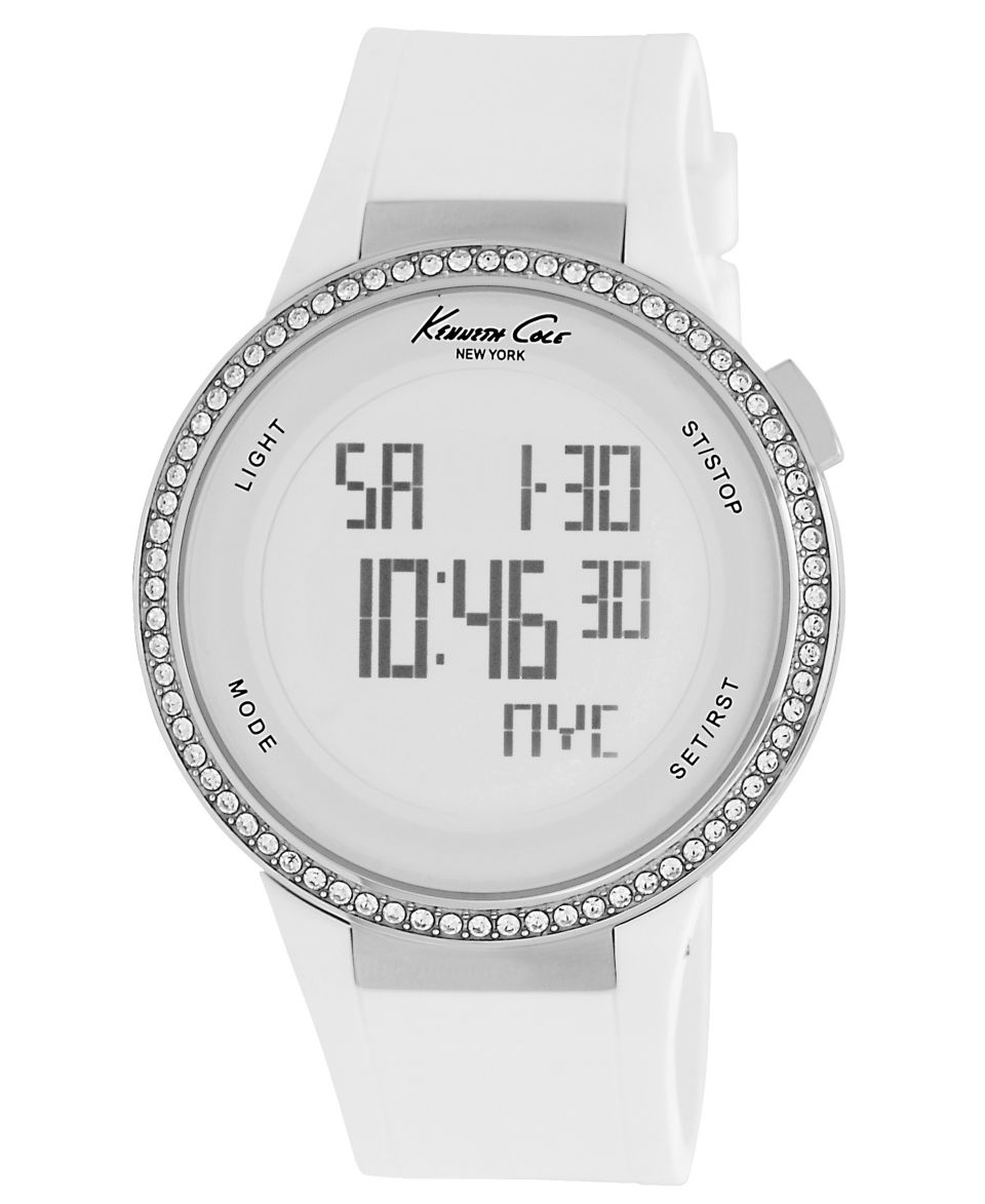Kenneth Cole New York Watch, Womens Digital White Silicone Strap 44mm KC2698   Watches   Jewelry & Watches