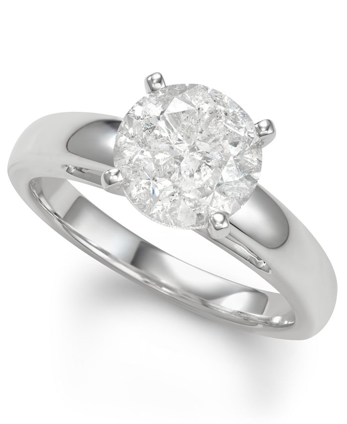 Macy's - Diamond Solitaire Engagement Ring (3 ct. t.w.) in 14k White Gold