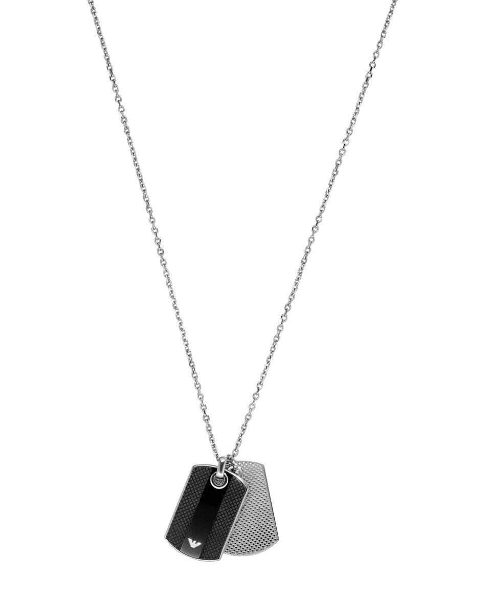 Emporio Armani Mens Necklace, Silver Tone and Black Enamel Dog Tag EGS1726040   Fashion Jewelry   Jewelry & Watches