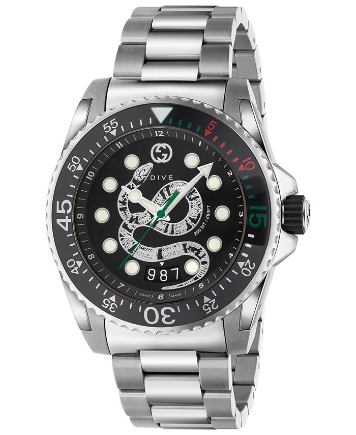 Gucci - Men's Swiss Dive Stainless Steel Bracelet Watch 45mm
