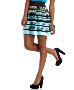BCX Skirt, Striped Elastic Waist Skirt
