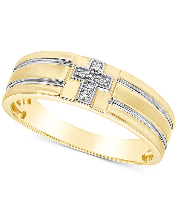 Macy's Men's Diamond Accent Cross Band in 10k Yellow Gold & White Gold