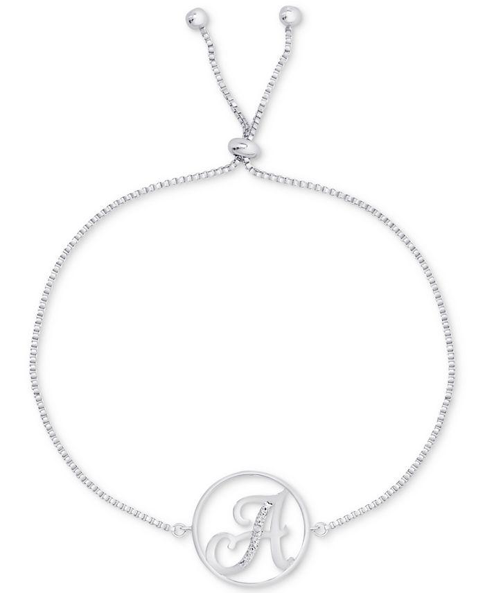 Macy's - Diamond Accent Initial Bolo Bracelet in Silver-Plate