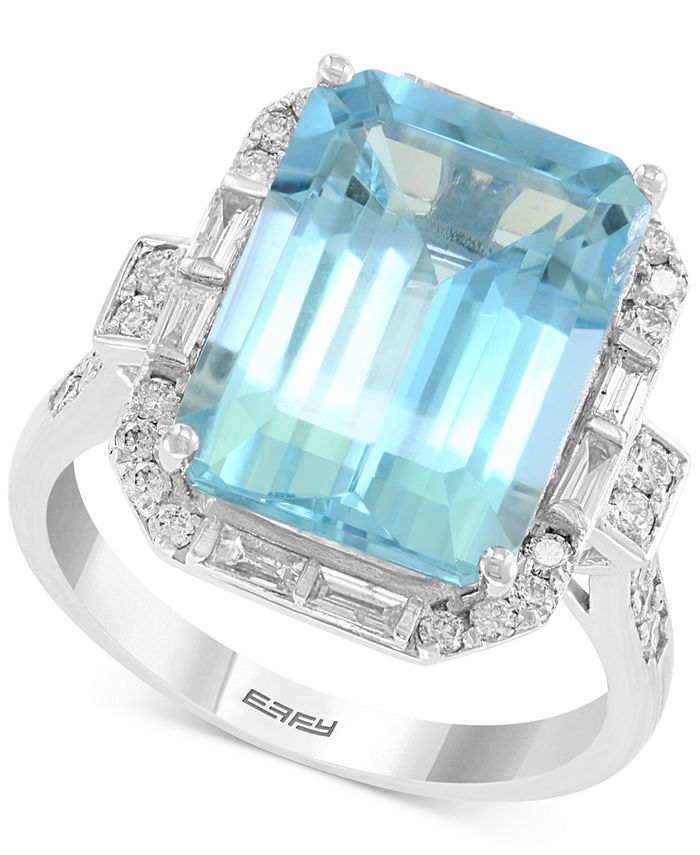 EFFY Collection - Aquamarine (6-7/8 ct. t.w.) & Diamond (1/2 ct. t.w.) Ring in 14k White Gold