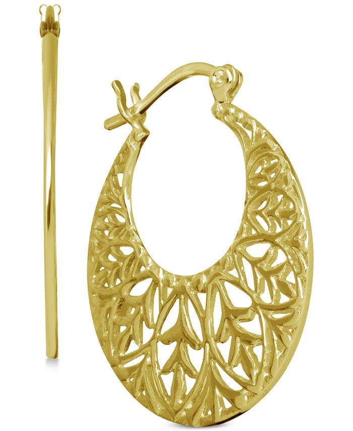 Essentials - Openwork Pattern Hoop Earrings in Fine Silver-Plate