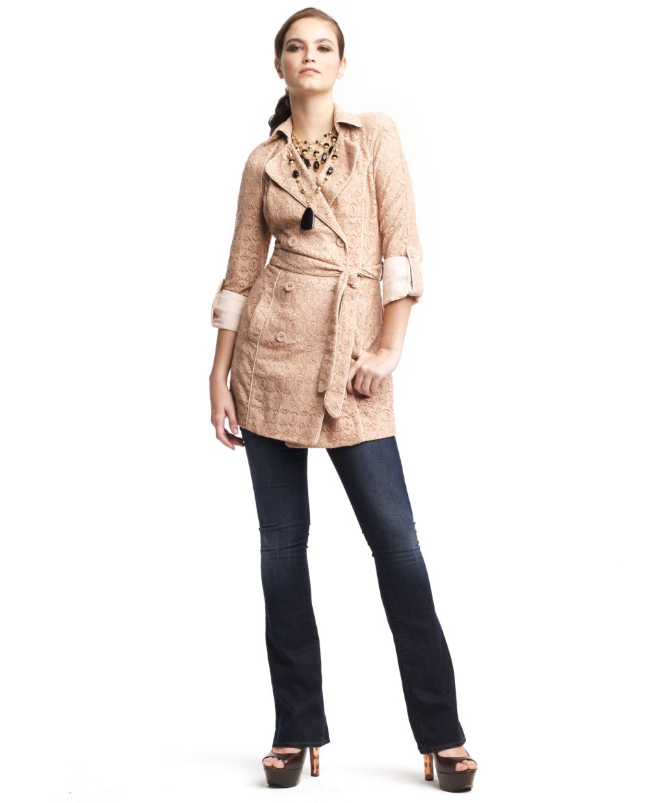 W118 by Walter Baker Coat, Long Sleeve Buttoned Tie Lace Pocket Trench