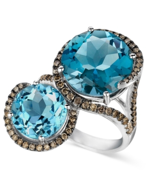 Le Vian Blue Topaz (8-3/8 ct. t.w.) and Chocolate Diamond (5/8 ct. t.w.) 2 Sto