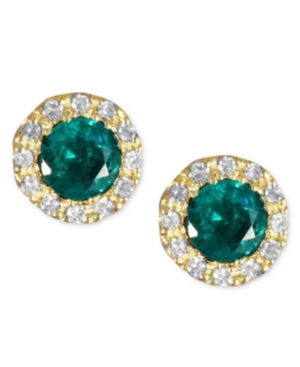 Brasilica by Effy Emerald (3/4 ct. t.w.) and Diamond (1/8 ct. t.w.) Button Stud Earrings in 14k Gold