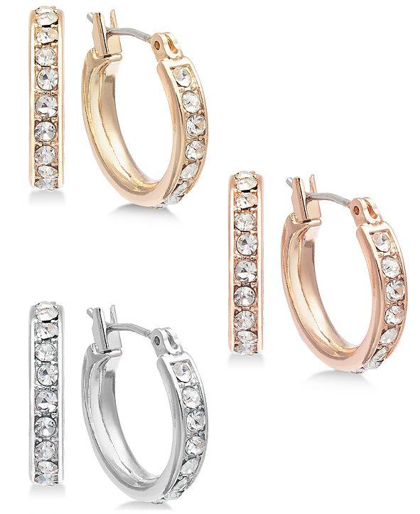 INC International Concepts INC Tri-Tone Metal 3-Pc. Small Hoop Earrings   Set, Created for Macy's