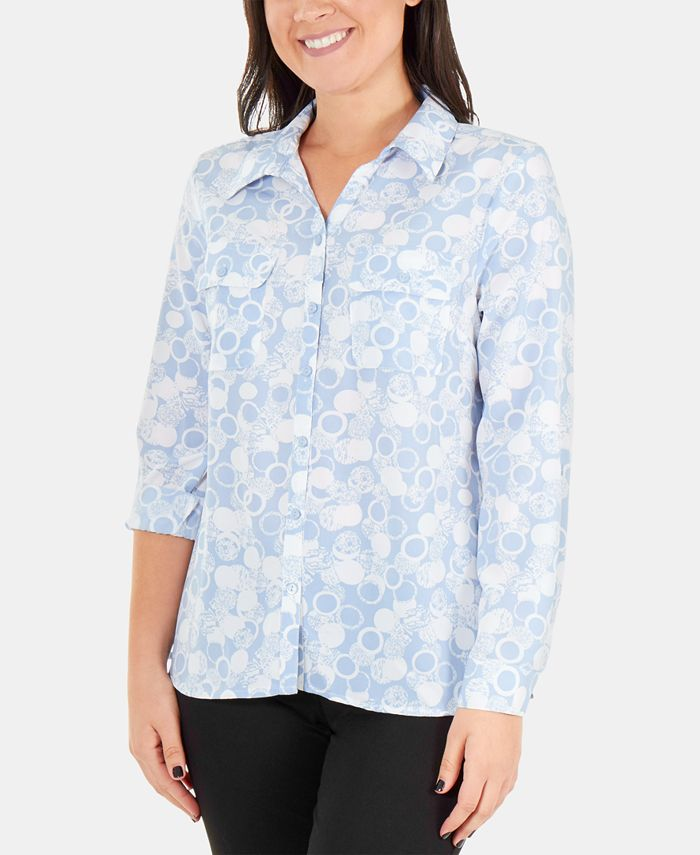 NY Collection - Printed Roll-Tab Button-Up Blouse
