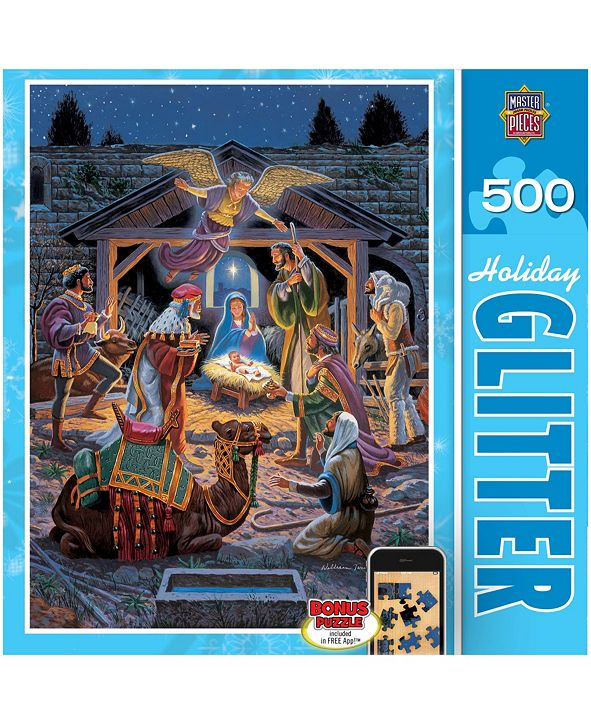 MasterPieces Puzzles Holiday Glitter Jigsaw Puzzle - Holy Night - 500 Piece