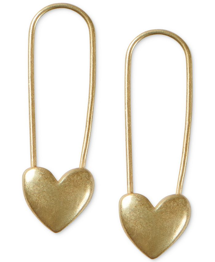 Lucky Brand - Gold-Tone Heart Safety Pin Drop Earrings