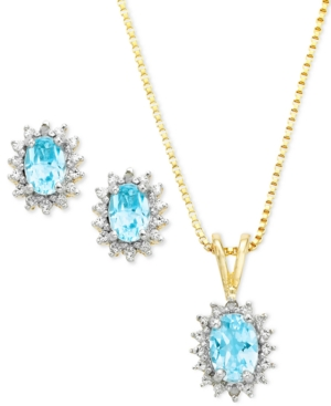Victoria Townsend 18k Gold Over Sterling Silver Earrings and Pendant Set, Blue Topaz (2-1/5 ct. t.w.) and Diamond Accent Oval
