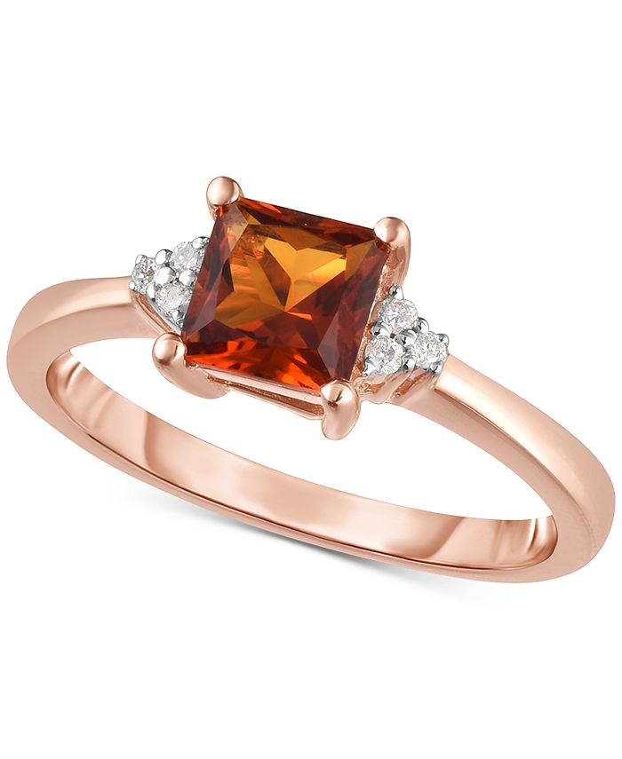 Macy's - Citrine (3/4 ct. t.w.) & Diamond Accent Ring in 14k Rose Gold