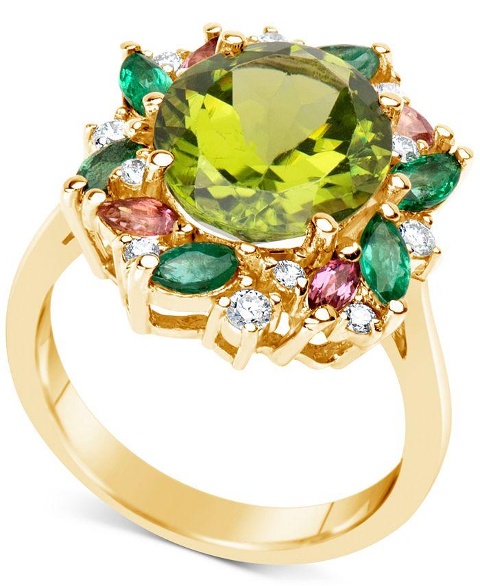 Macy's - Multi-Gemstone (5-1/2 ct. t.w.) & Diamond (1/5 ct. t.w.) Ring in 14k Gold