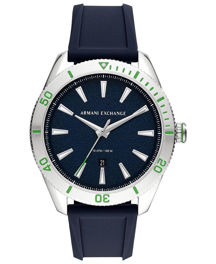 A|X Armani Exchange - Men's Enzo Blue Silicone Strap Watch 46mm