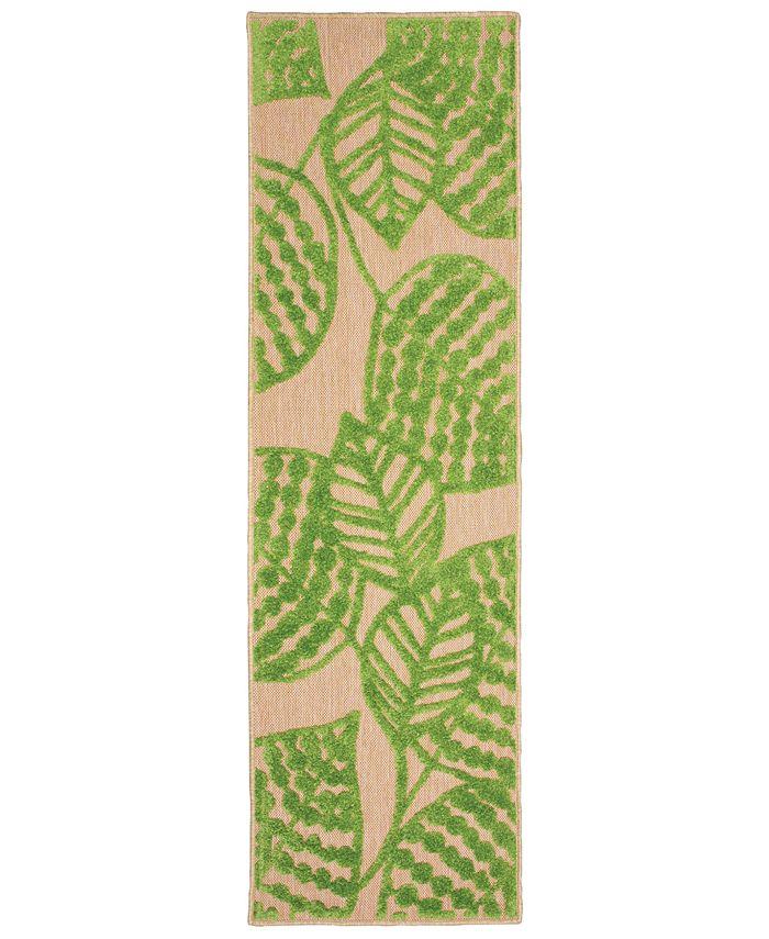 """Oriental Weavers - Cayman 566F9 Sand/Green 2'3"""" x 7'6"""" Indoor/Outdoor Runner Area Rug"""