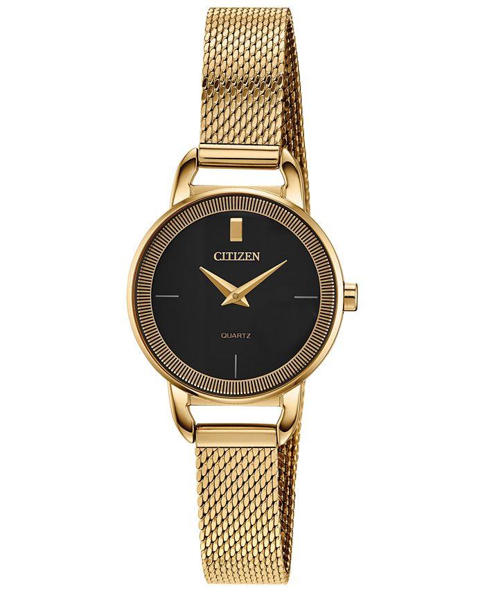 Citizen - Women's Quartz Gold-Tone Stainless Steel Mesh Bracelet Watch 26mm