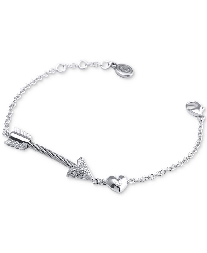 CHARRIOL - White Topaz Arrow, Heart & Cable Link Bracelet (1/10 ct. t.w.) in Sterling Silver & Stainless Steel