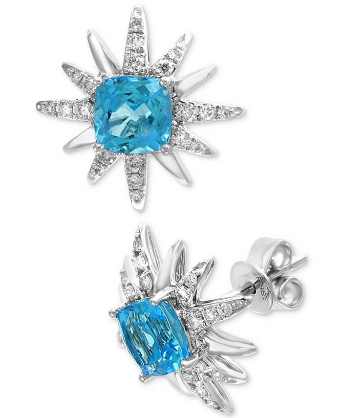 EFFY Collection - Blue Topaz (2-7/8 ct. t.w.) & Diamond (1/3 ct. t.w.) Starburst Stud Earrings in 14k White Gold