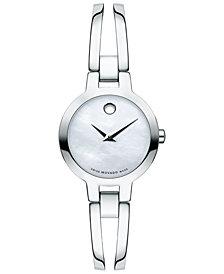 Movado Women's Swiss Amorosa Stainless Steel Bangle Bracelet Watch 24mm