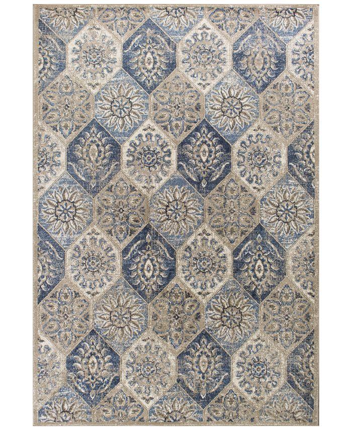 "Kas - Seville Mosaic 9451 Pewter 5'3"" x 7'7"" Area Rug"